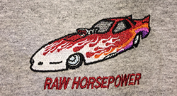 Raw Horsepower funny car embroidered on grey Tee